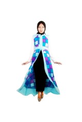 Atikah Vintage Cardi Color Block Baby Blue - 1653