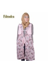 Long Cardigan / Coat Floral Pink - 1660